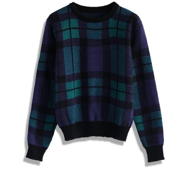 Chicwish Comfy Green Plaid Check Sweater ($53) ❤ liked on Polyvore featuring tops, sweaters, multi, ribbed top, checkered sweater, ribbed sweater, tartan top and plaid sweater