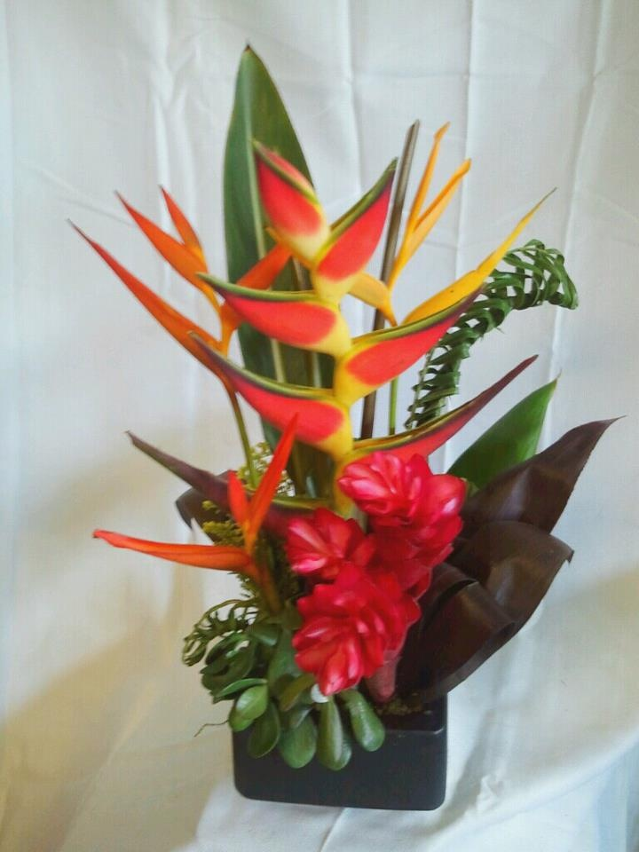 Lobster claw heliconia, ginger flowers, heliconias, jade plant, braided palm, and ti leaves ...