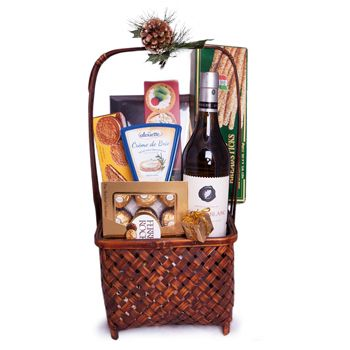 Savory White to Israel  $129.95 USD      Product ID: 10020     A bottle of white wine is the perfect accompaniment to a dinner full of playful, whimsical, and light flavors. Treat your favorite host to a wine gift set they'll love to have in their collection. Your recipient will receive a fine bottle of dry White Wine (750 ml), creamy Cheese Spread (140 gr), Crackers, a box of delicious Ferrero Rocher Chocolates (150 gr) and more. Say Thank You, celebrate their Birthday, or treat yourself…