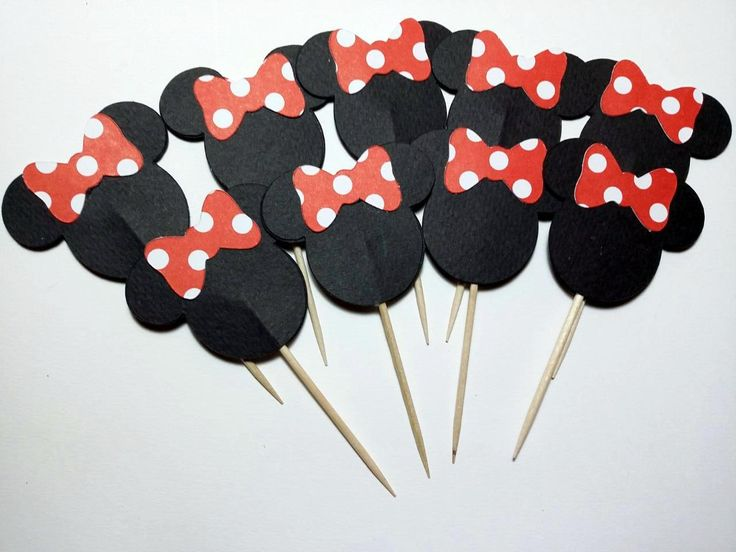 24 Minnie Mouse Cupcake Toppers - Minnie Mouse Cupcake Picks - Minnie Mouse Red…