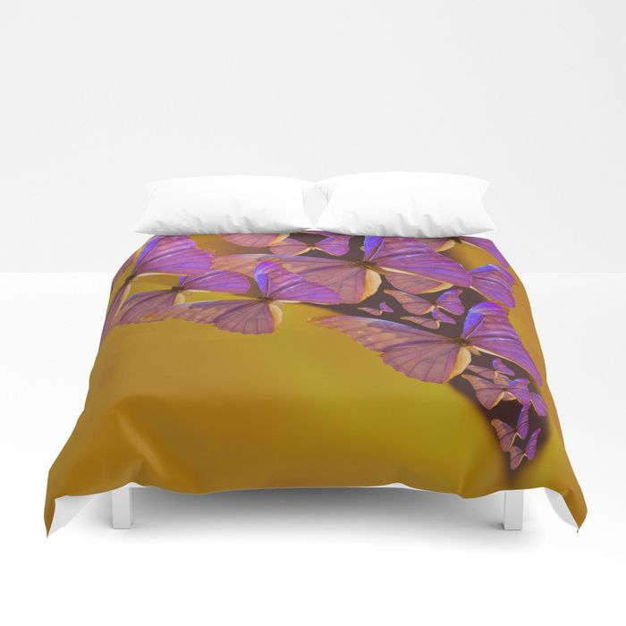 Shiny Purple Butterflies On A Ocher Color Background #decor #society6 Duvet Cover