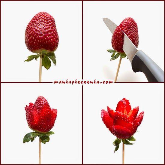 Eton mess, deser z truskawkami, walentynki, valentine's day,dekoracja tortu, róże z truskawek