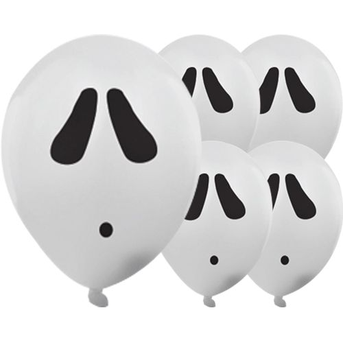 De lyser i mørke! Uhyggelige balloner til Halloween og alle uhyggelige temafester hvor du skal skabe en skræmmende stemning! Halloween Spøgelse Illoom Ballon – Pakke med 5, fås hos MinTemaFest