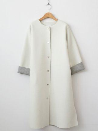 コート ◆韓国◆3色♪ノーカラー配色ネオプレンAラインコート(14)