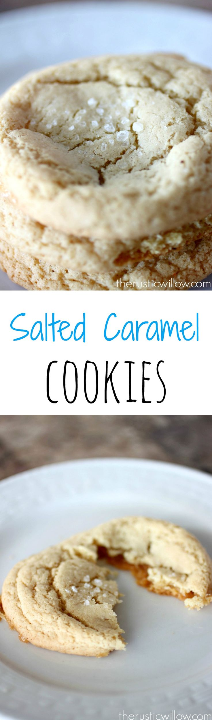 Delicious cookies stuffed with caramel and topped with hearty sea salt | therusticwillow.com