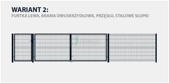 Ogrodzenie panelowe Sparta 50 w konfiguracji z bramą dwuskrzydłową i słupkami stalowymi.
