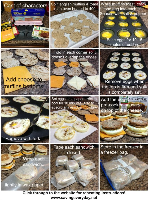 "Make-Ahead Sausage Egg & Cheese ""McMuffins"" - http://www.savingeveryday.net/2013/10/make-ahead-sausage-egg-cheese-mcmuffins-recipe/"