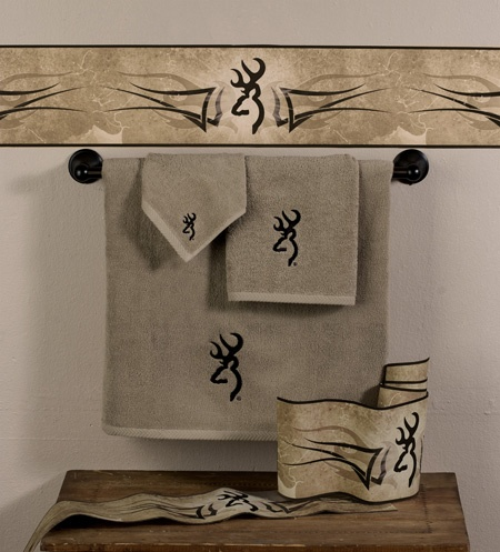 Browning Buckmark bath towels & Wall Border for the deer hunters cabin or home  http://www.delectably-yours.com/Browning-Buckmark-Bedding-C753.aspx