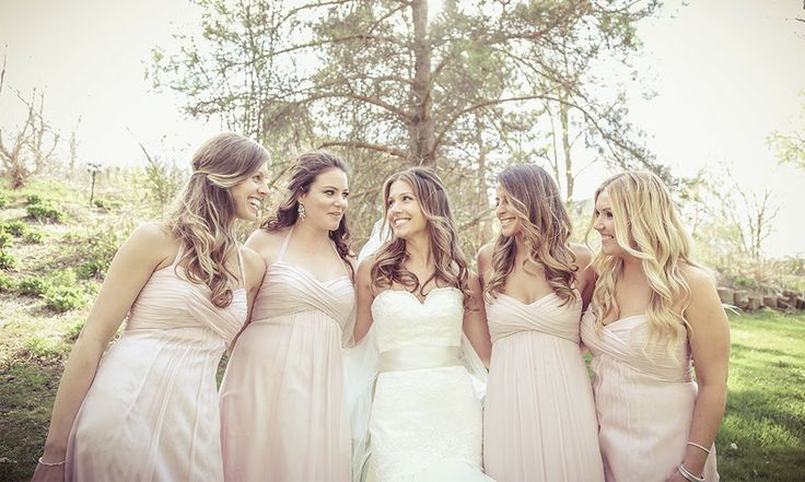 Bride and Bridesmaids in Pink Bridesmaid Dresses | Vintage wedding photography | www.newvintagemedia.ca