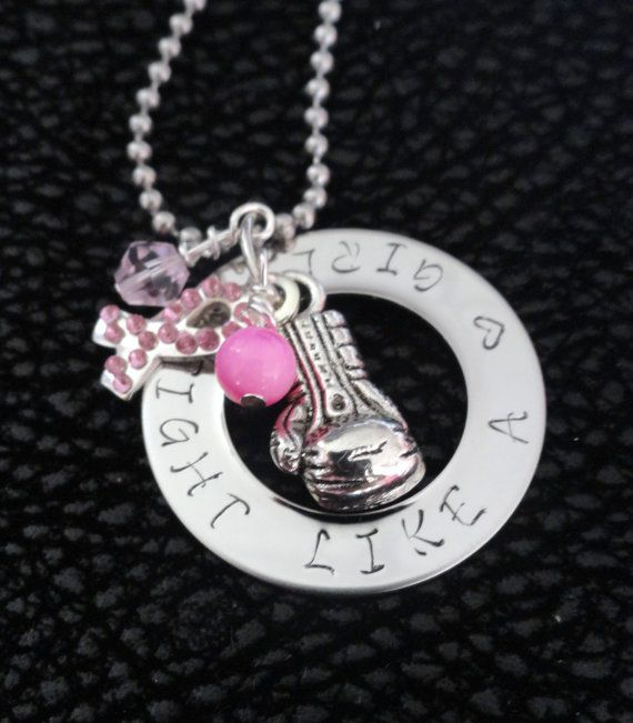 Breast Cancer Necklace October Breast Cancer Awareness Ribbon Pendant Keychain on Etsy, $22.00