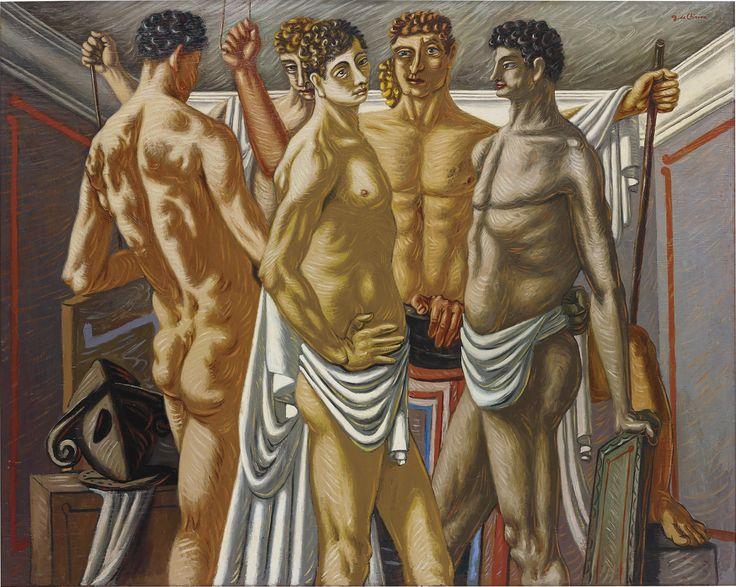 """GIORGIO DE CHIRICO Gladiateurs au Repos 1928-29 oil on canvas 62 1/2 x 78 1/4 in. (158.8 x 198.8 cm) Signed """"G. de Chirico"""" upper right; further signed and titled """"'Gladiatori' Giorgio de Chirico"""" on the reverse of the burlap cover. Estimate $4,000,000 - 6,000,000 - 25 (3582×2858)"""