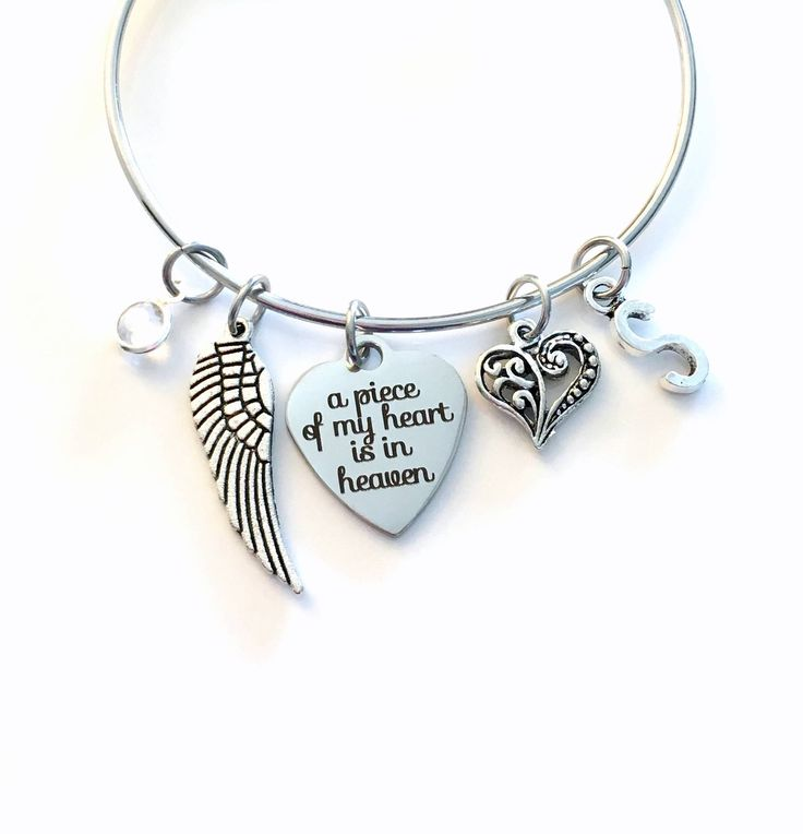 Memorial Present, A Piece of My Heart is in Heaven Stainless Steel Bracelet, Loss of Mom Dad Brother Sister Son Jewelry Guardian Angel Wing by aJoyfulSurprise on Etsy