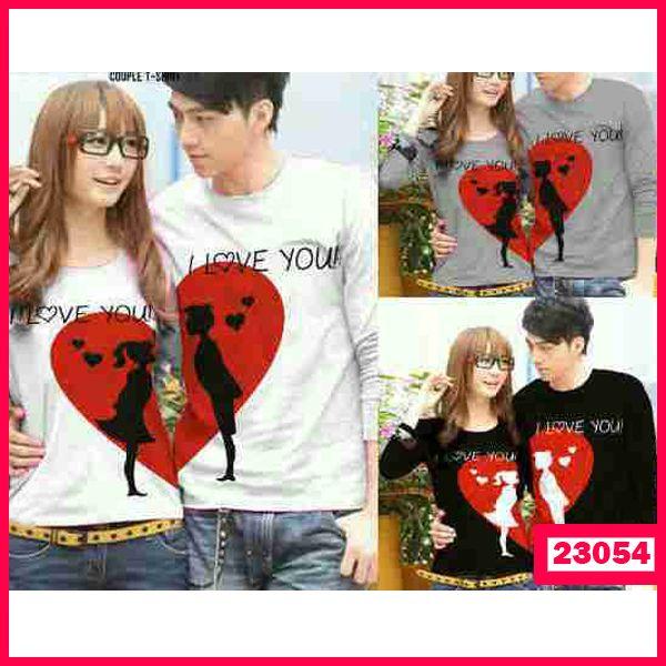 """Baju Couple LP I Love You Kode  : 23054  Harga :82.000  Size :  – Pria : LD=52cm P=73cm Panjang lengan 50cm (L)  – Wanita : LD=45cm P=72cm Panjang lengan 45cm  (M)  Bahan : Cotton Combed  ==================   yukk order dengan sms ke 08999-89-59-39 atau add bbm kami di 26C8CC65  """"DICARI RESELLER DAN DISTRIBUTOR DI INDONESIA"""""""