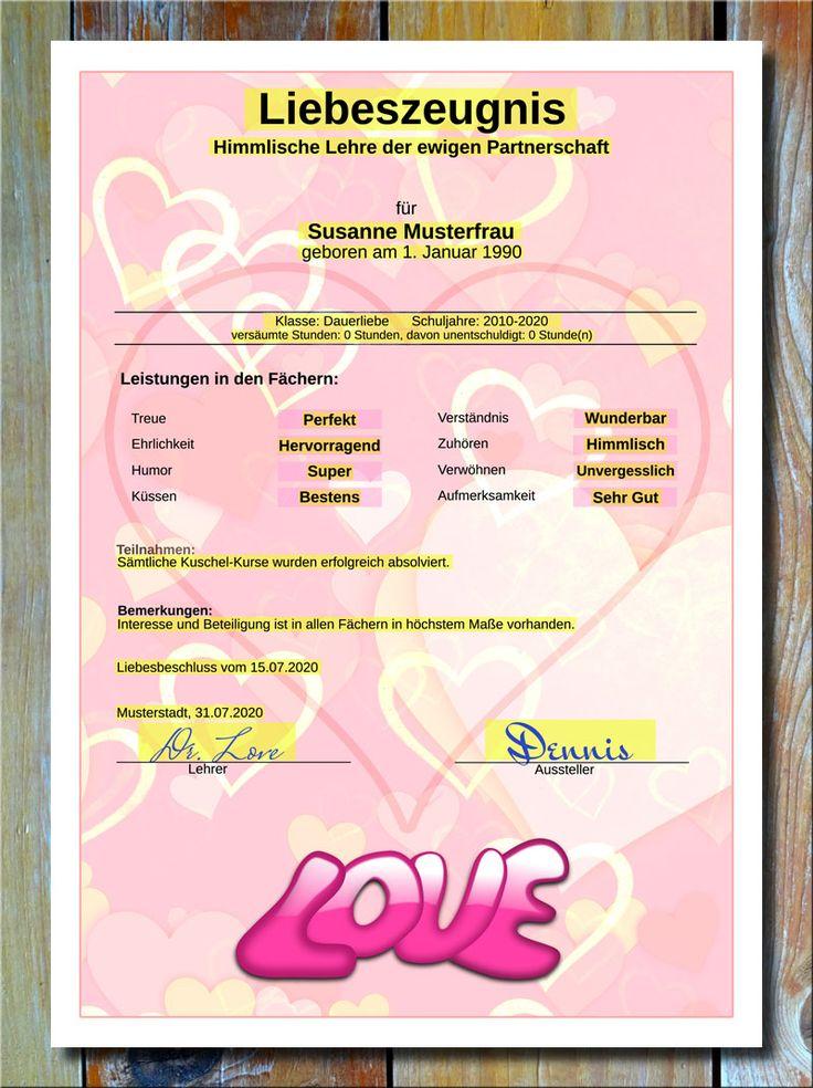 Liebeszeugnis In Rosa * Jetzt Können Sie Ihrem Geliebten Partner Bzw. Ihrer  Geliebten Partnerin Endlich Mal Alles Schriftlich Geben, Uns Zwar In Form  Von ...