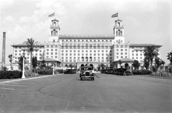 The Breakers Hotel: PALM BEACH, Florida, C. 1920.  The Breakers Hotel, built by Henry Flagler and located at One South County Road in Palm Beach, Florida, originally opened in 1896. It was rebuilt after fires in 1903 and 1925.