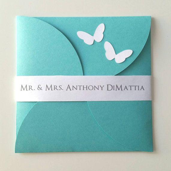 6 1/4 x 6 1/4 Petal Butterfly Wedding por bellybeancards en Etsy