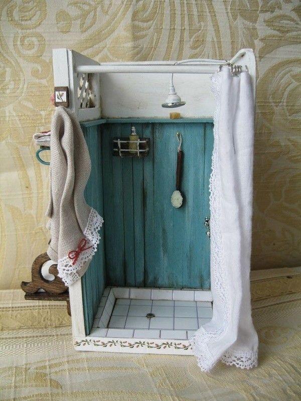 Dollhouse Miniature Blue & White Rustic Bathroom