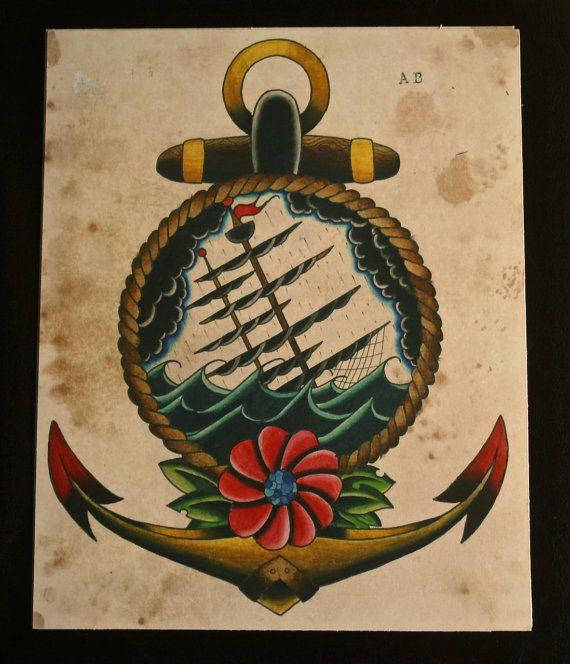 Sinking Ship Anchor Tattoo Flash Print