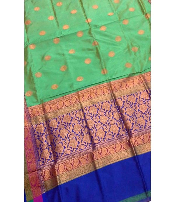 Green and Blue Banarasi Handloom Katan Silk Saree