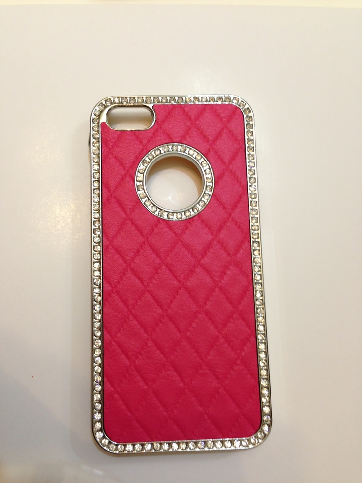 Pink leather phone case with rhinestones