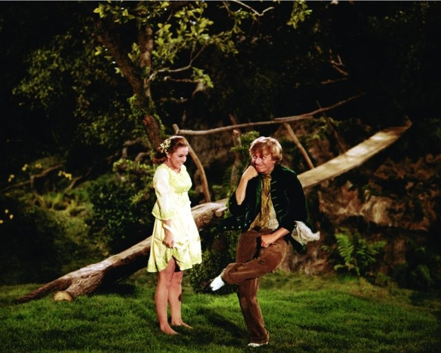 My favorite leprechaun, Tommy Steele, with Susan the Silent (Barbara Hancock) in Finian's Rainbow.