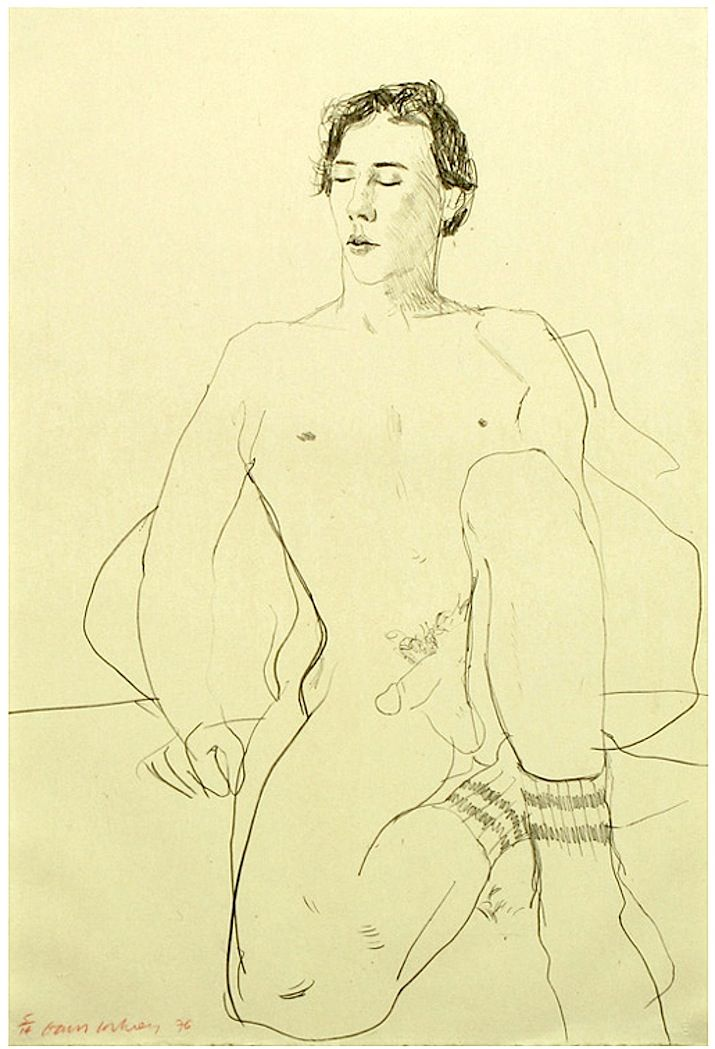 David Hockney: Gregory with Gym Socks (1976) Lithograph