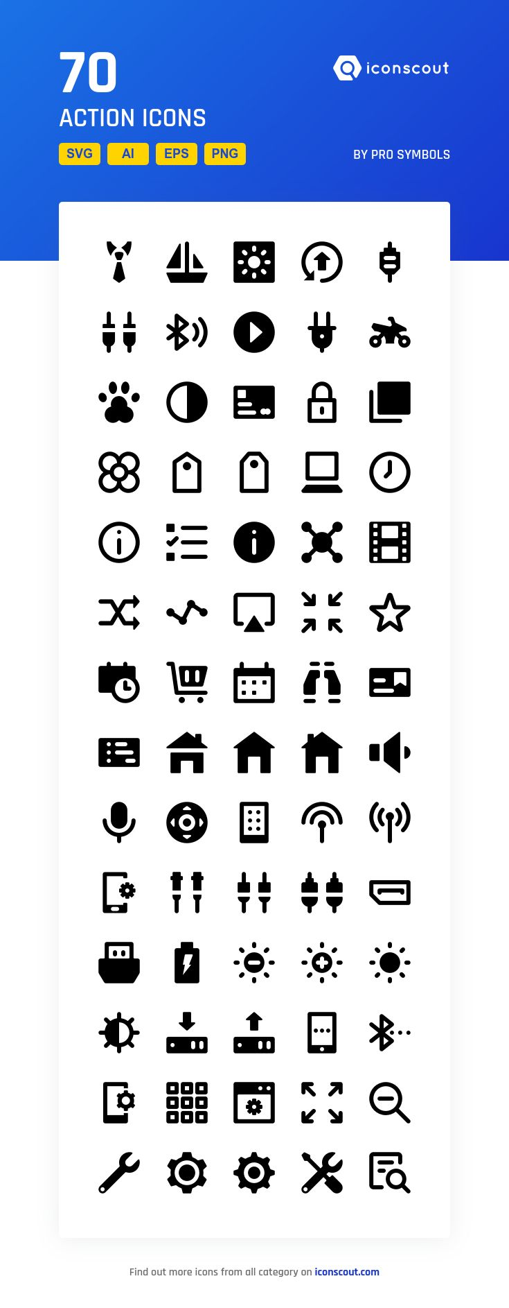 Action  Icon Pack - 70 Solid Icons