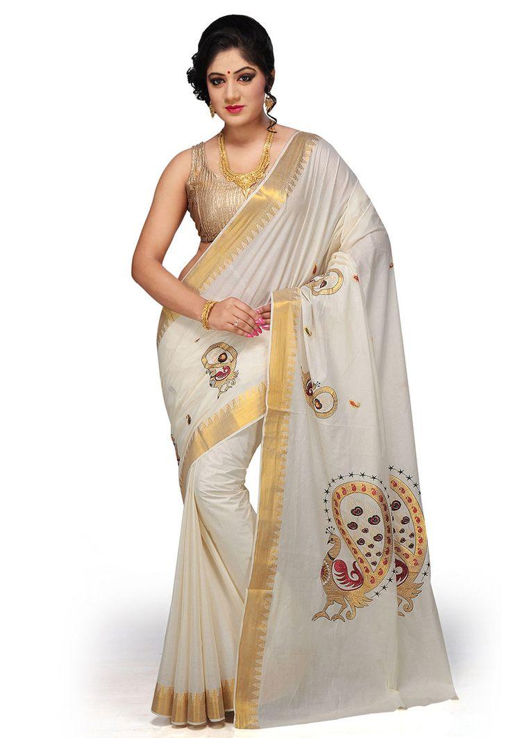 Off White Pure Cotton Kerala Kasavu Saree with Blouse: SPN2204
