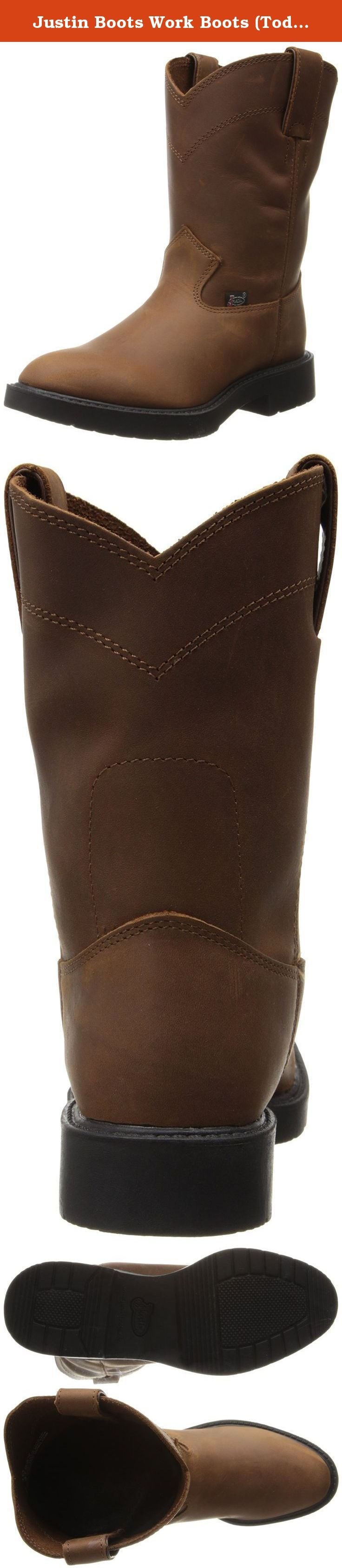 Justin Boots Work Boots (Toddler/Little Kid),Aged Bark,2 D US Little Kid. This pair of Justin work boots is sure to take your young cowpoke far and wide - in comfort. Leather lining. Round toe profile. Single welt construction. Imported.