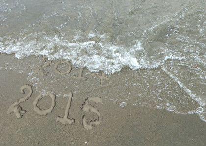 De golven van de zee spoelen het jaar 2014 weg van het strand... een mooi 2015 gewenst!