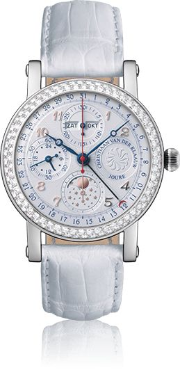 A custom made watch of Christiaan van der Klaauw Astronomical Watches: the CVDK Ariadne with a customized dial, a diamonds bezel and a white strap.COMPLICATION ARIADNEClassic astronomical watch making at its very best, combined with a sporty design. This chronograph with seconds, minute and hour counter is accompanied by a full date indication and 24 hour indicator. The position of the Moon can be read at the 6 o'clock position. When the Moon is left of centre, it is in its first quarter…