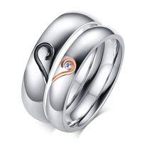 Мода сердце обручальные кольца для женщин/мужчин из нержавеющей стали посеребренные кольцо с CZ камень свадебные украшения