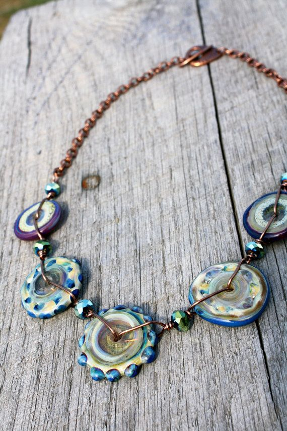 glass gypsy necklace handmade disc lampwork beads copper green blue purple