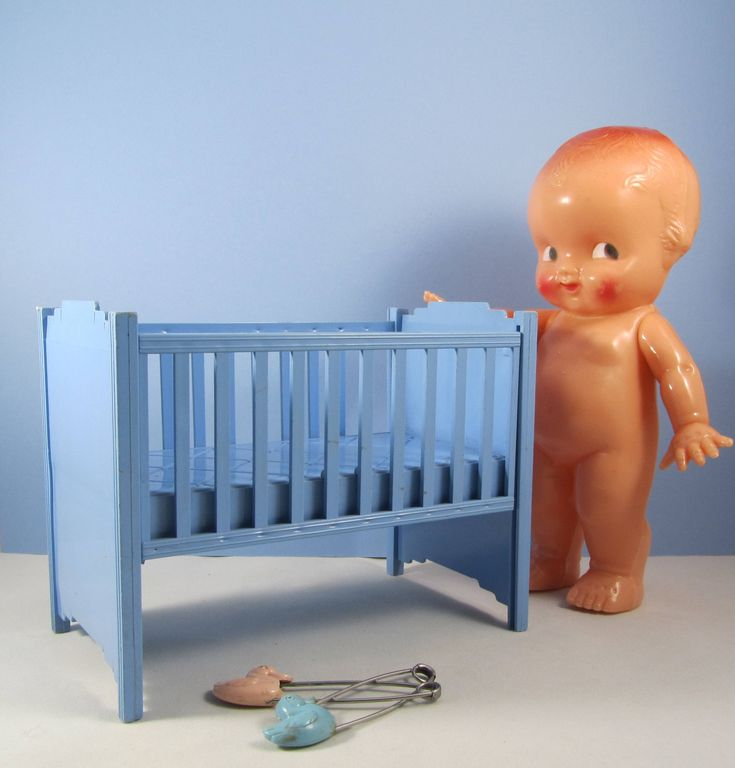 "Vintage Doll Crib Toy Baby Blue Plastic ""Ideal"" Bed with Drop Side 50s Nursery Large Dollhouse Furniture Cake Topper Baby Decor Art Gift by WillowValleyVintage on Etsy"