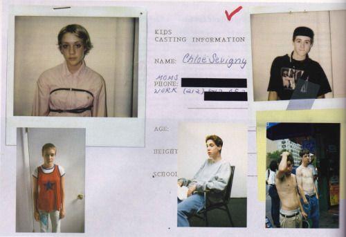 Casting polaroids for Kids 1994. Chloe Sevigny The Face Magazine