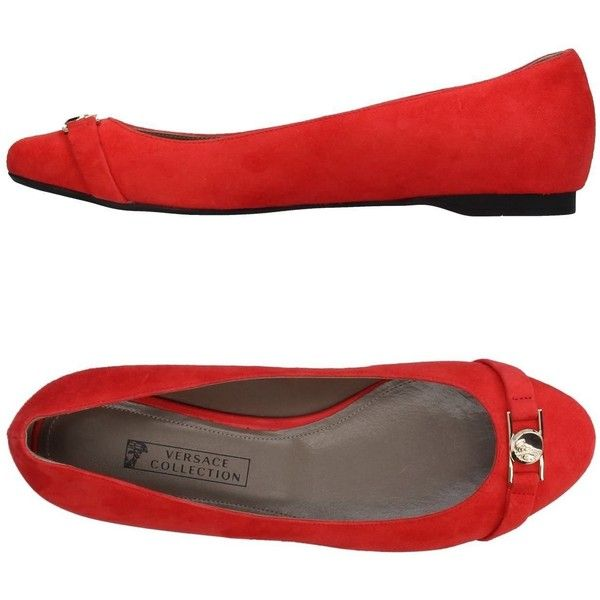 Versace Collection Ballet Flats ($155) ❤ liked on Polyvore featuring shoes, flats, red, red flats, red ballet shoes, red leather flats, round toe ballet flats and red shoes