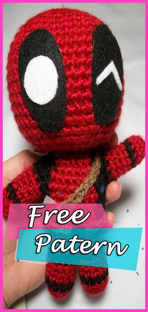 Marvels Deadpool Doll Amigurumi Crochet Free Pattern Crochet Toys