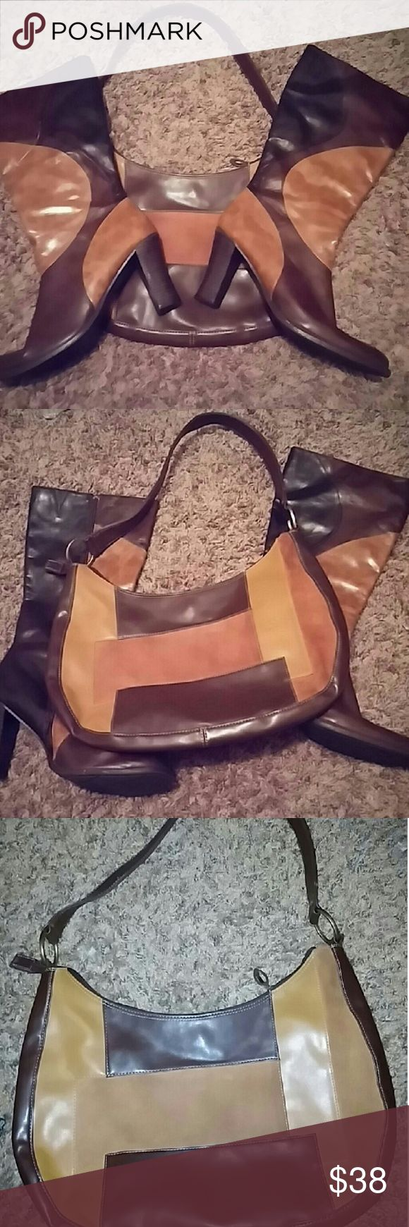 Predictions boots 9west purse Predictions all man made multi colored chunky 3.5 inches heeled side zip boot and 9west all man made material purse with leather trim the caramel colored sections are suede boots size 12 Boot legs are 11 inches tall width 16inches Shoes Heeled Boots