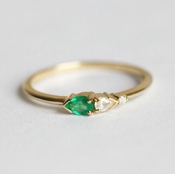 Smaragd und Diamant-Ring Diamant Smaragd Ring Cluster Ring