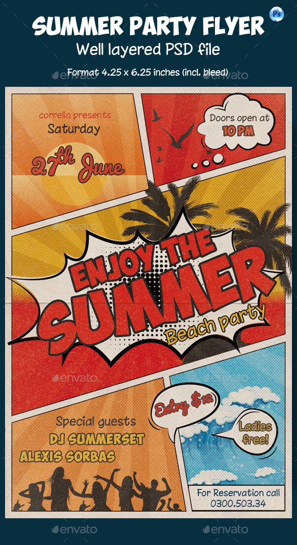 summer flyer comic style template  design download