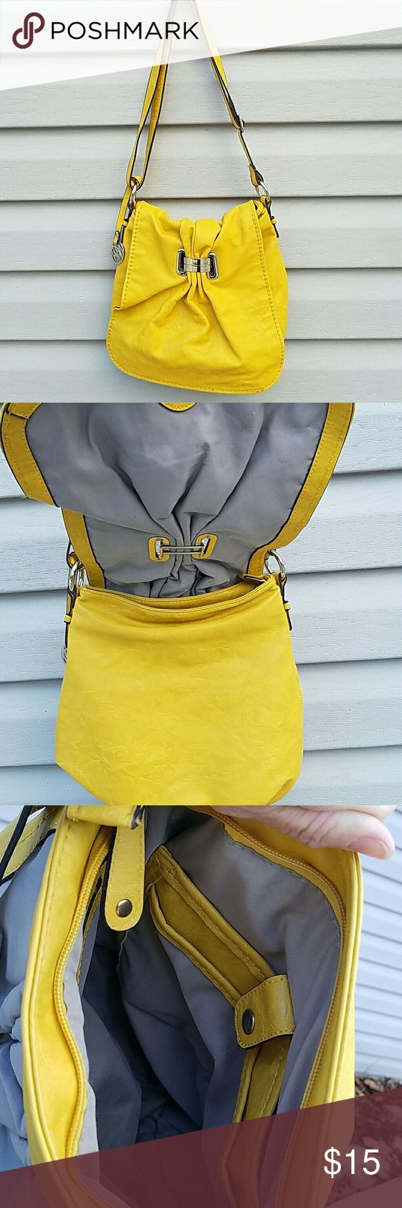 """Yellow Shoulder bag. Strap drop in picture is 15"""" but it can be adjusted.  The outside is in good condition. The inside has some pen marks. Bags Shoulder Bags"""