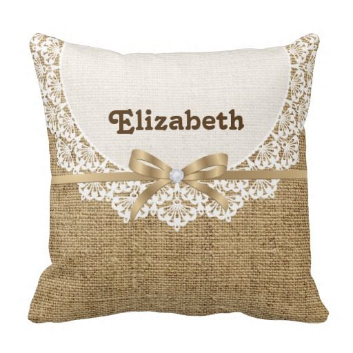 White doily with lace and linen natural burlap printed throw pillows. #throwpillow, #burlap, #doily