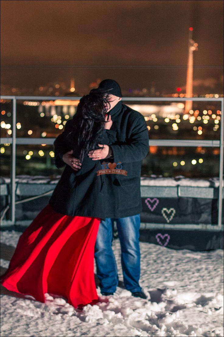 Зимнее свидание на крыше в Москве/Winter rooftop date in Moscow #rukaiserdce #рукаисердце #свидание #предложение #date #proposal #engagement #surprise #romantic