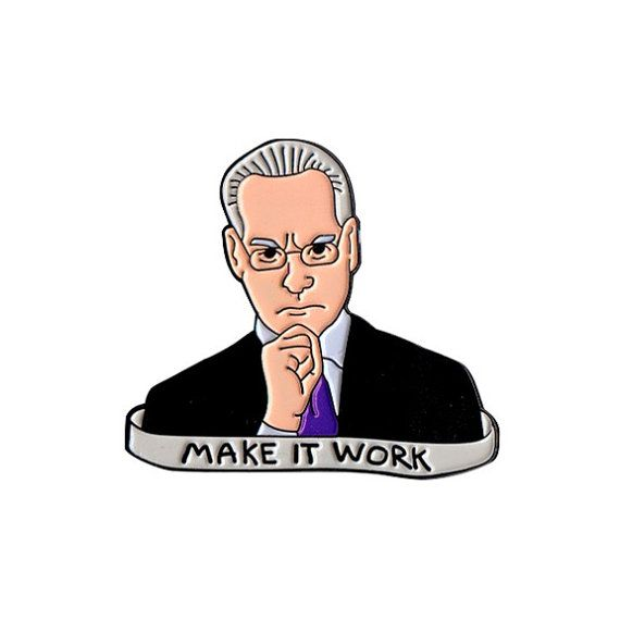 Make it work! The classic phrase from an exceptional human being. This pin is in honor of Tim Gunn, due to the inspiring genius he brings to any project. These die struck soft enamel pins come with a butterfly clutch, attached to a beautiful card back for the ultimate in collectability. Details: • Size: 1.25 inch • Materiel: metal, enamel • Backing: metal butterfly clutch • Includes attractive double sided card back