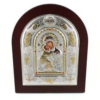 Εικόνες : Ασημένια Εικόνα με την Παναγία με Επίχρυσες Λεπτομέρειες σε Καφέ Ξύλο MA/E3110BX
