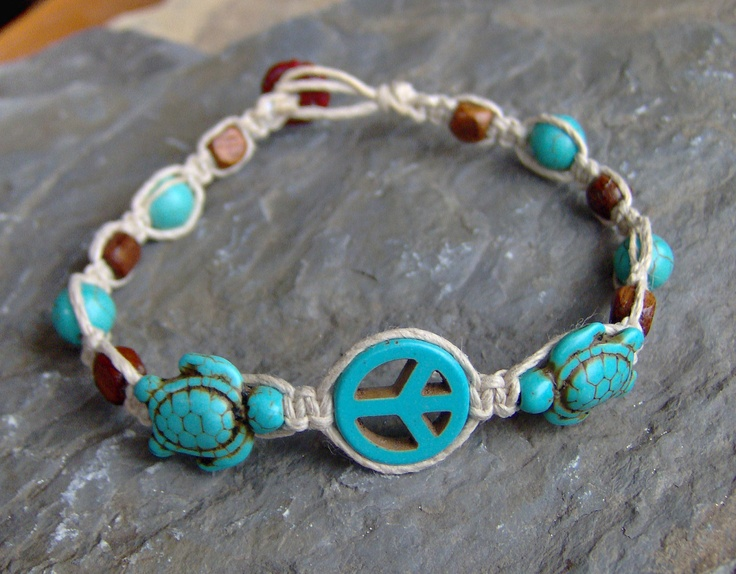 Hemp Bracelet - Peace Sign - Hemp Jewelry - Turquoise and Brown - Turtle Tortoise