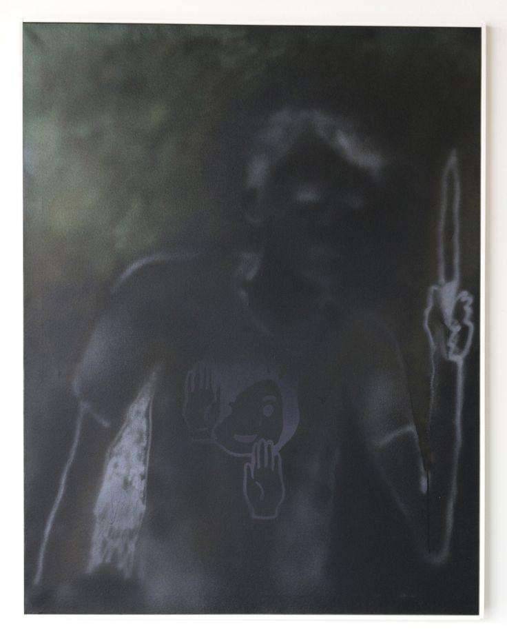 Ian Swanson, Man w Knife (dark aggressor), 2014, acrylic on canvas, 44 x 34 in