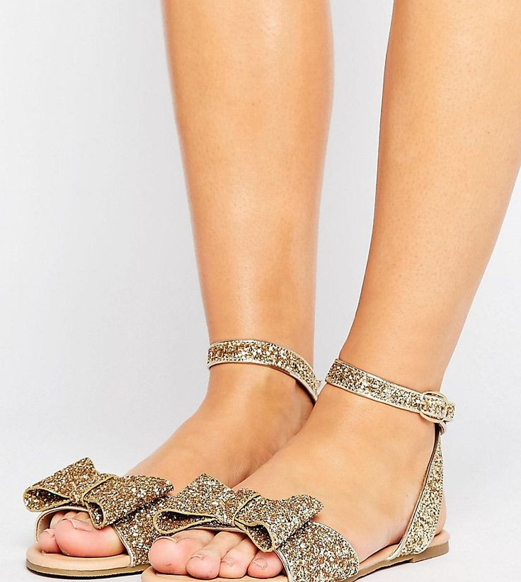 ASOS FAIR LADY Wide Fit Bow Flat Sandals - Gold