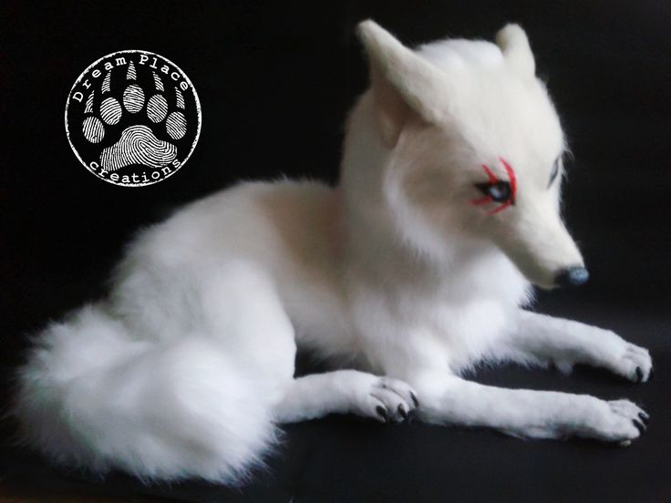 Poseable creature - fantasy arctic wolf - made by Dream Place creations #ooak #creature #poseable #wolf #fantasy