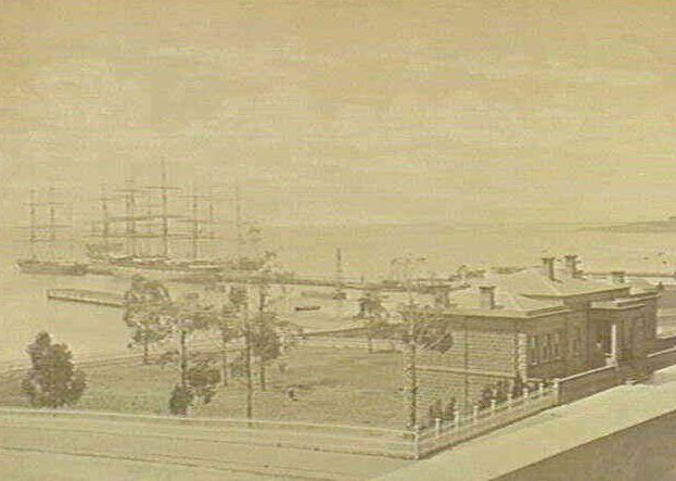 Customs House and Waterfront, 1880.